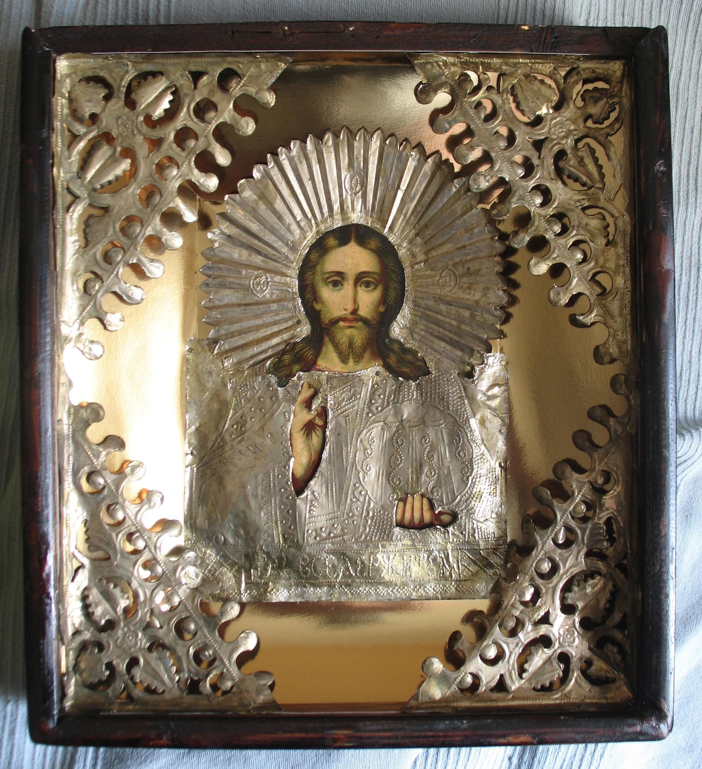 Реставрация иконы Господь Вседержитель фольговый