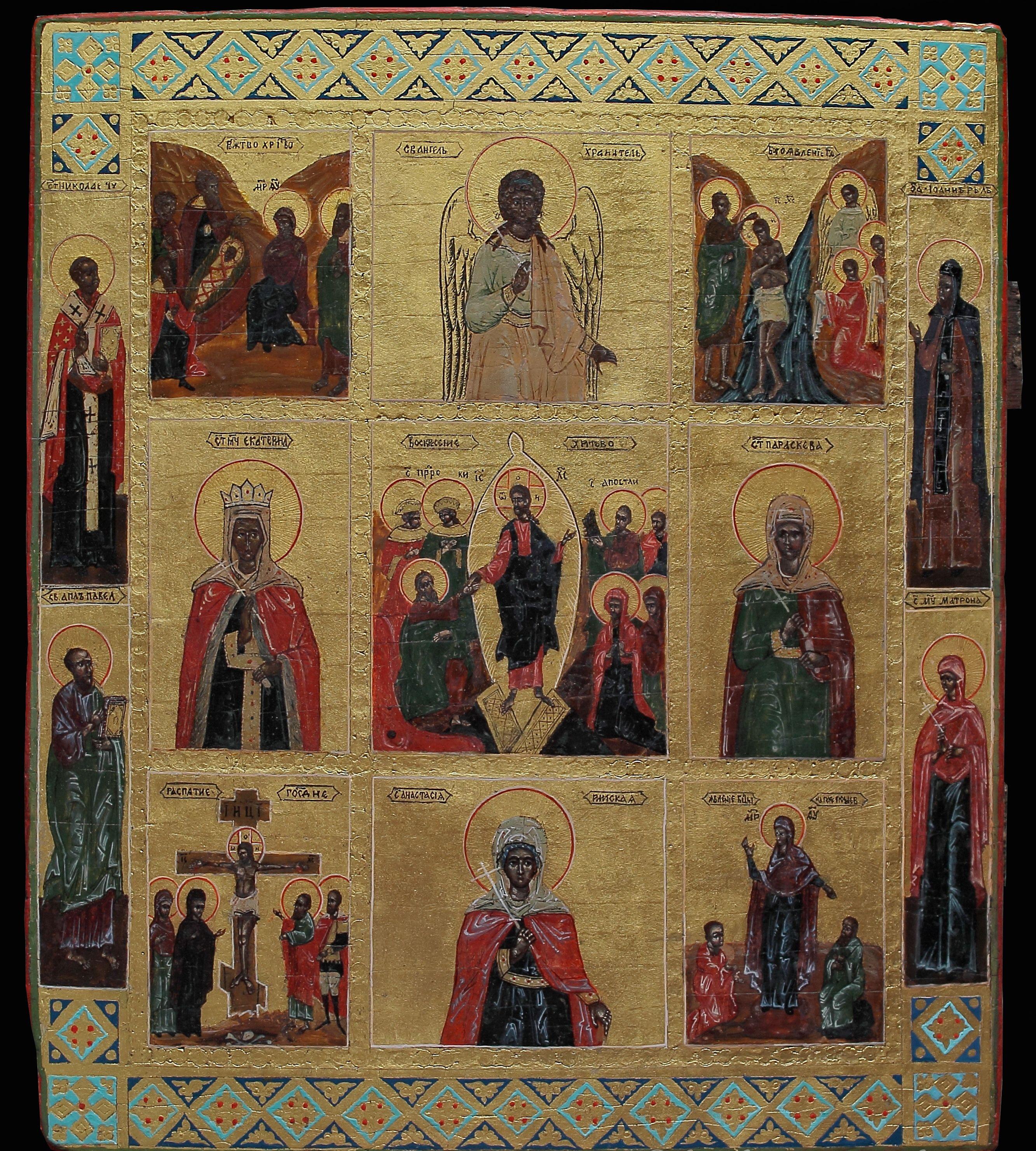 Реставрация иконы Воскресение Христово с праздниками и избранными святыми